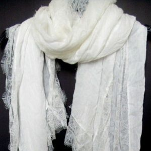 INC Scarf Sheer Light Lace Vintage look